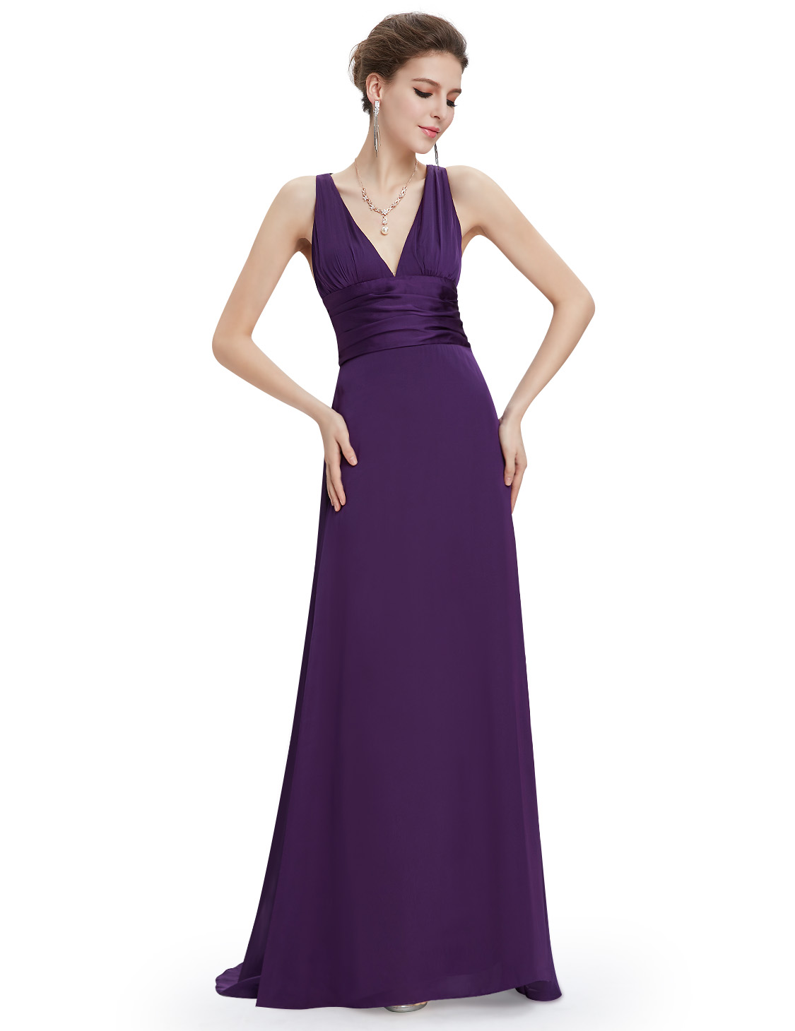 US Long V-neck A-line Bridesmaid Evening Dresses Formal Ball Prom ...