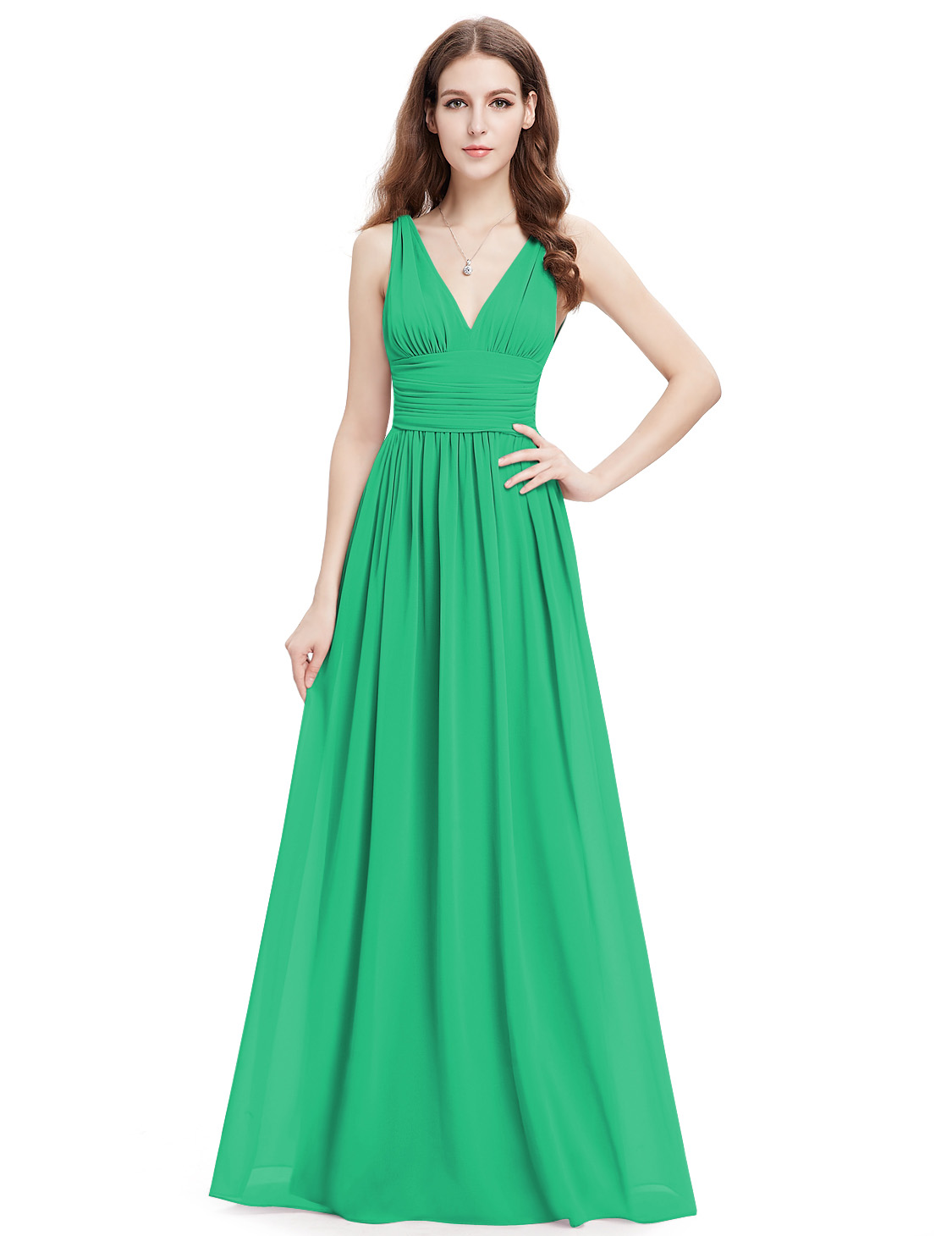 Women\'s Long V-neck Bridesmaid Party Dresses Formal Evening Prom ...