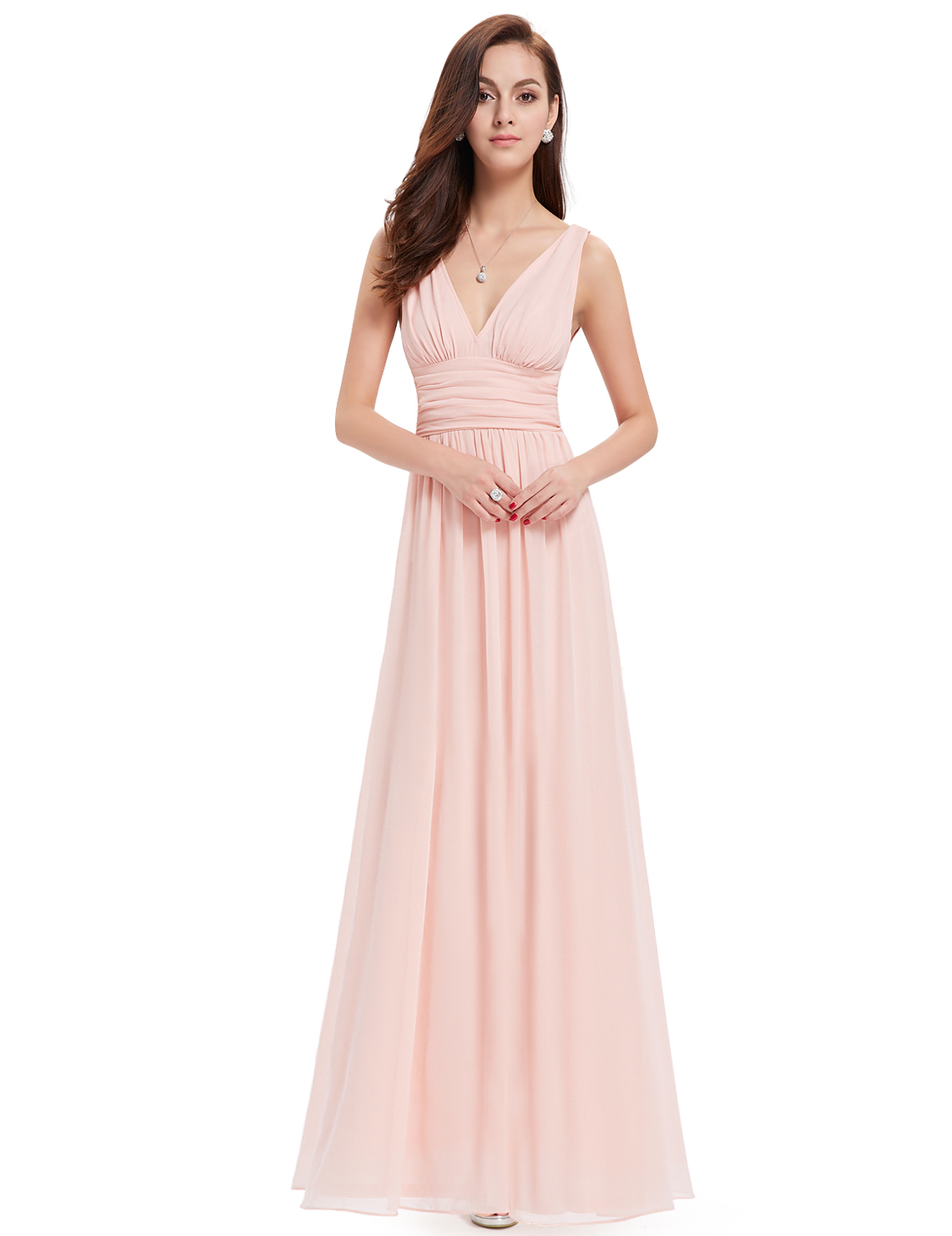 Womens V Neck Sleeveless Bridesmaid Prom Gown Formal Evening