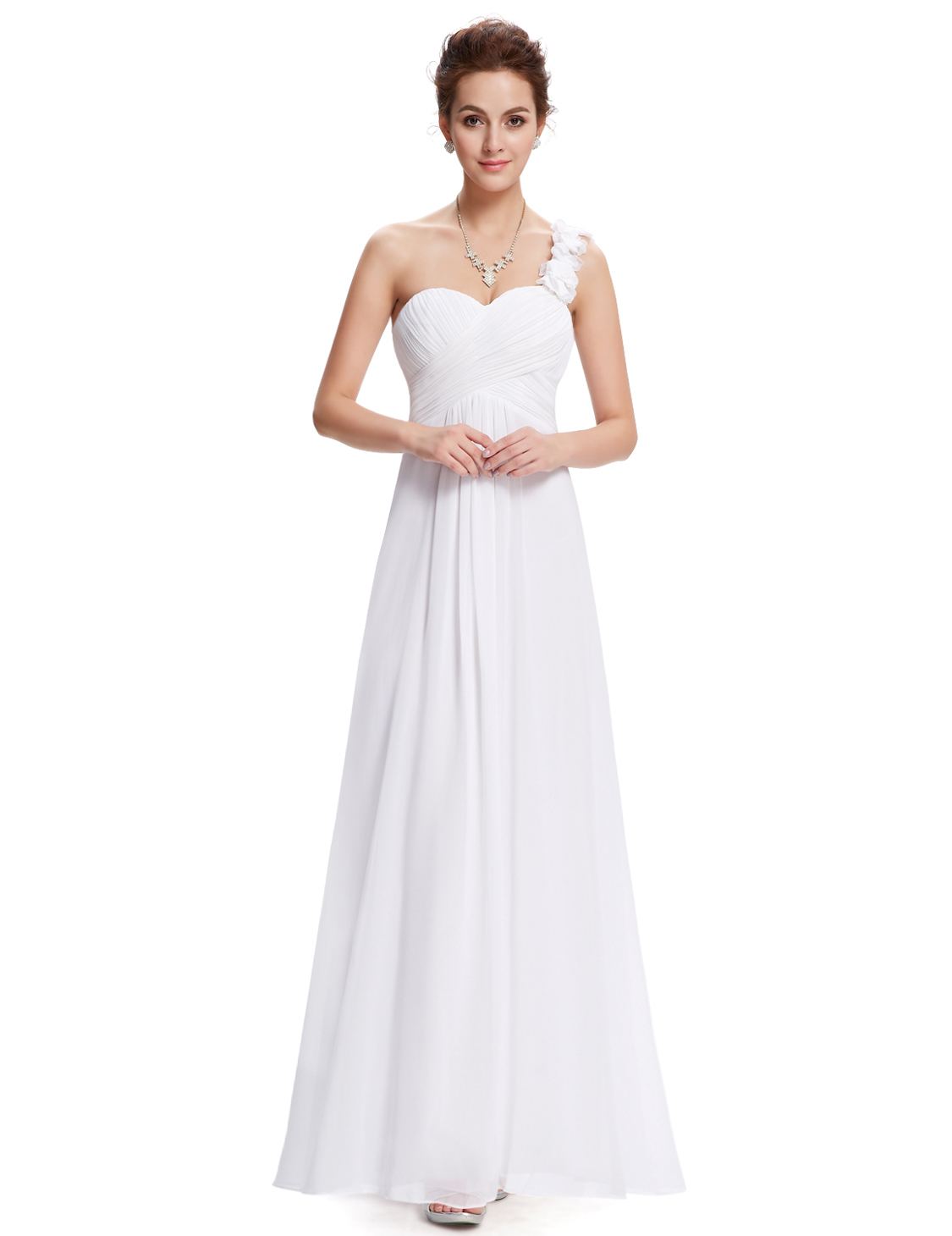 Ever-pretty One-shoulder Evening Gowns White Wedding Bridesmaid ...