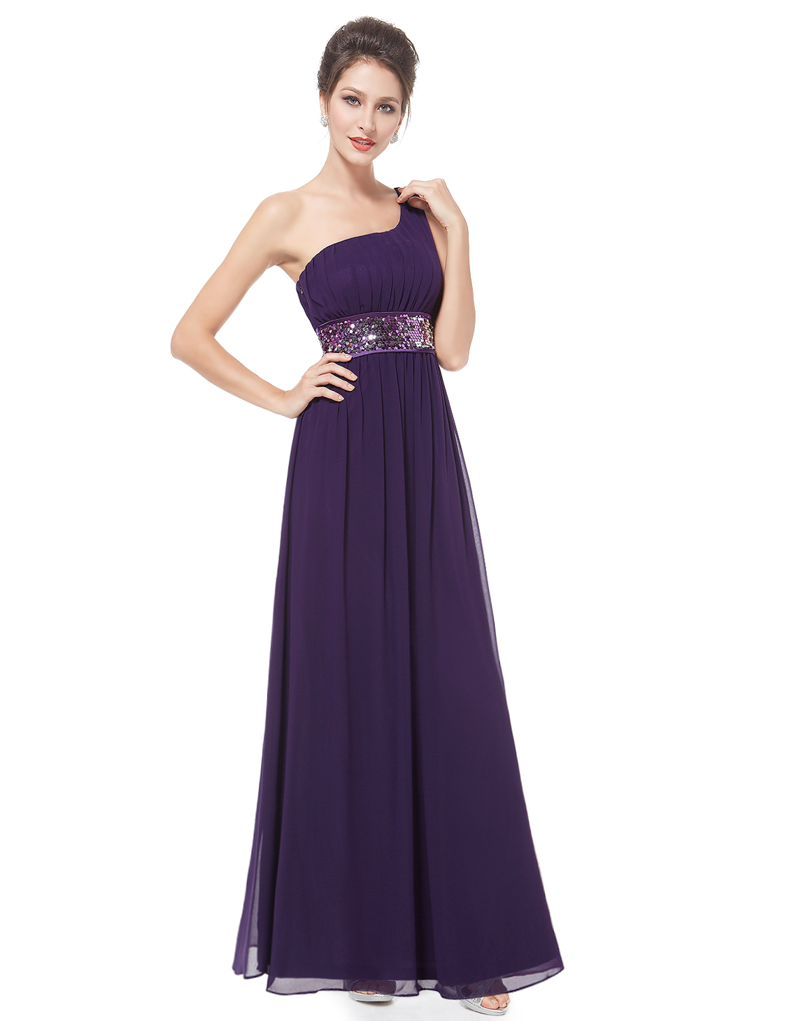 Uk one shoulder long bridesmaid party dress cocktail prom for Ever pretty wedding dresses