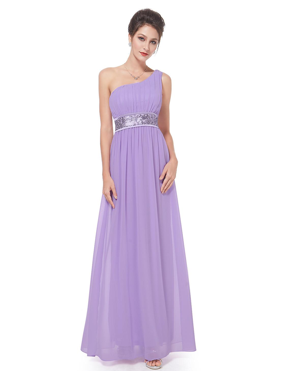 Ever-Pretty Long Bridesmaid Dress One Shoulder Chiffon Prom Evening ...
