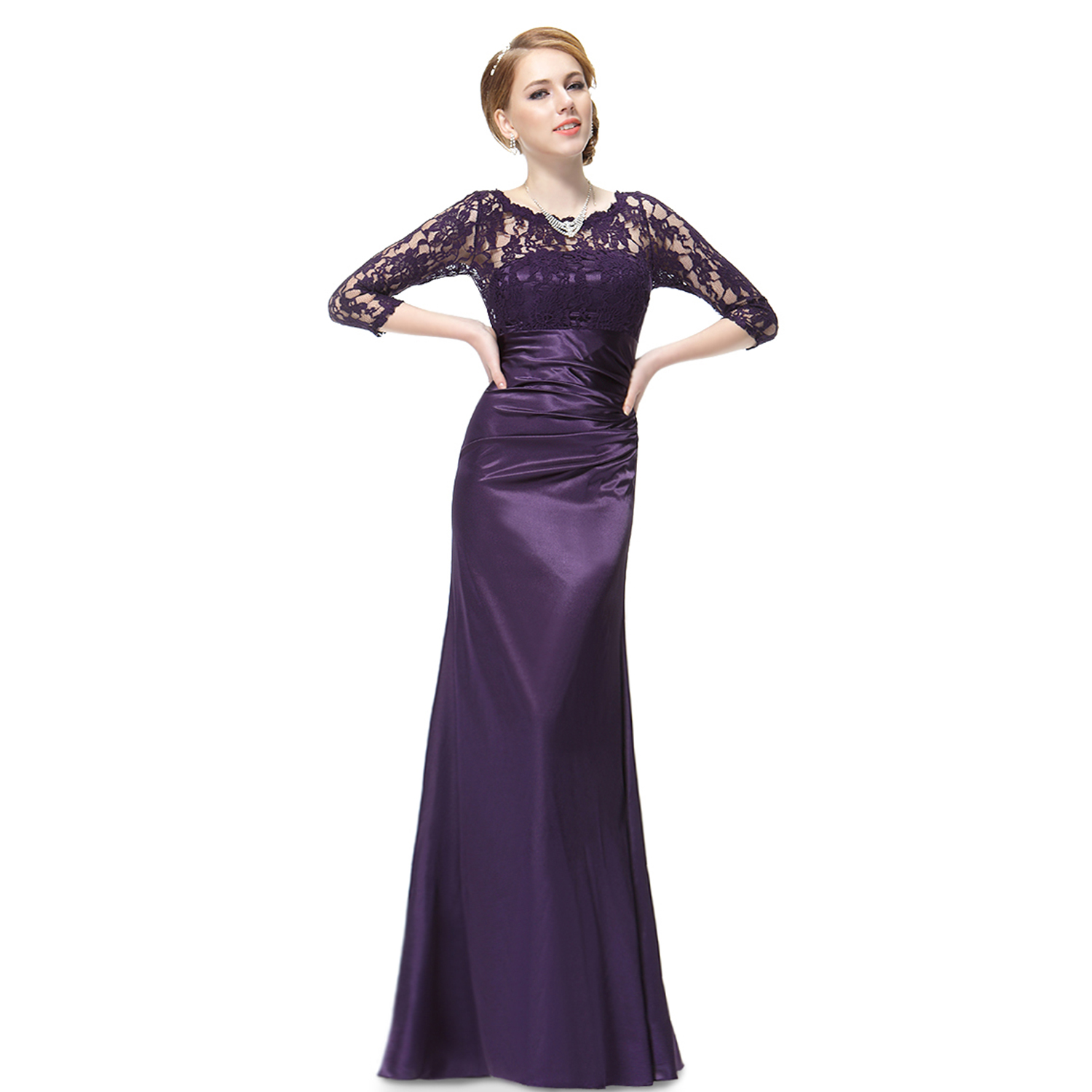 Ever-Pretty Long Bridesmaid Dresses Lace Sleeve Elegant Evening ...