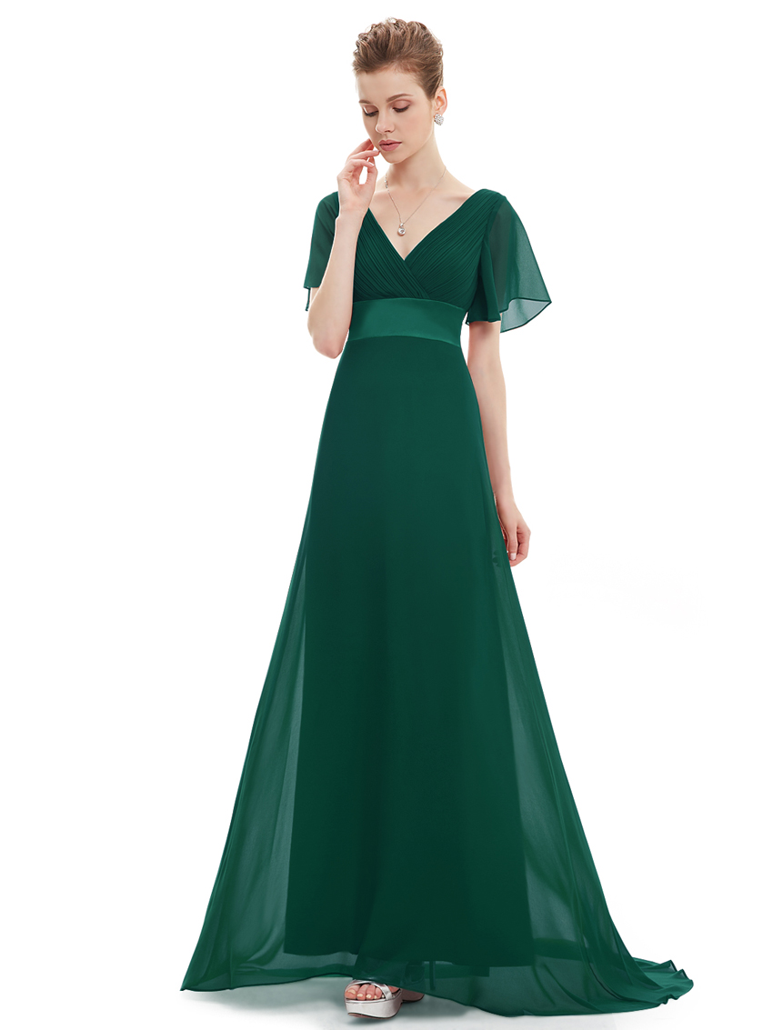 V neck chiffon long bridesmaid party dress formal evening for V neck wedding dresses australia