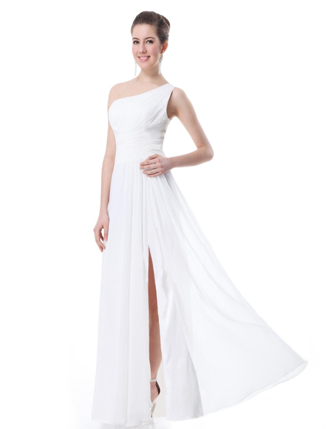 Hot One-shoulder High-slit Formal Evening Party Dresses Bridesmaid ...