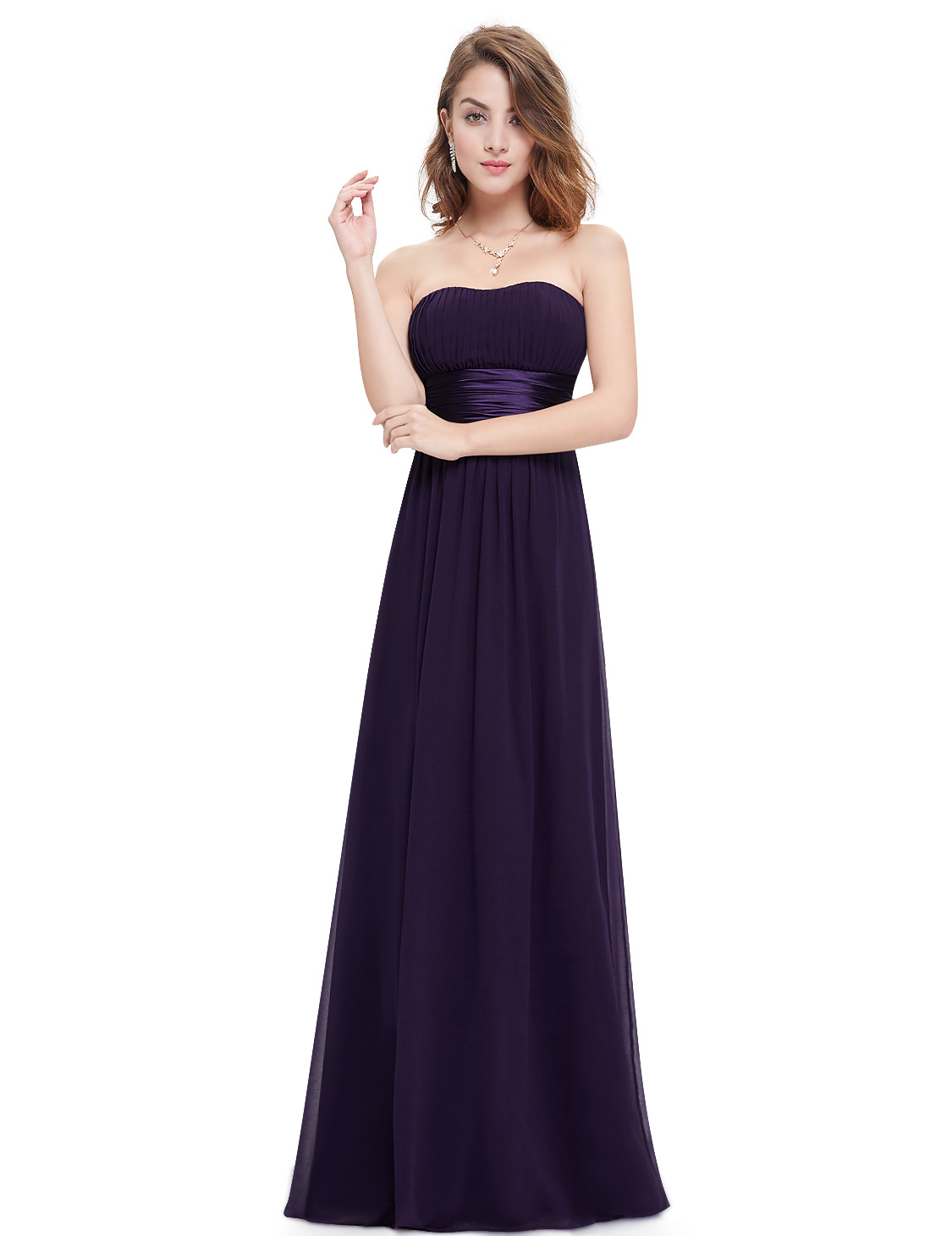 Women 39 s long strapless bridesmaid party dresses formal for Long strapless wedding dresses